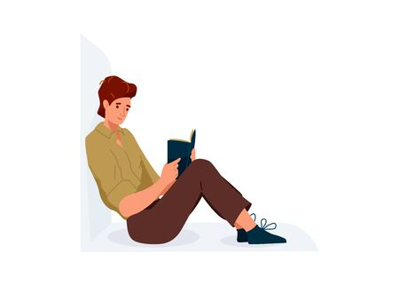 Read book vector illustration. Boy reading books in comfortable pose leaning on the wall. Student male study knowledge. Cute readers, style flat literature with person. Illustration