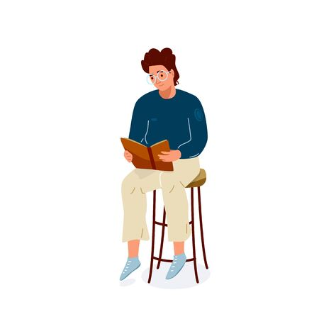 Read book vector illustration. Boy reading books in comfortable pose sitting on the chair. Student male study knowledge. Cute readers, style flat literature with person Illustration