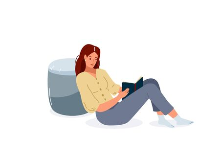 Read book vector illustration. Girl reading books in comfortable pose lean on the grey pouf. Student female study knowledge. Cute readers, style flat literature with person