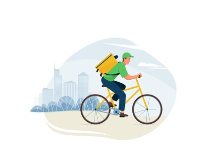 Delivery service vector illustration. Fast safe deliver by man ride by bike to work or home, outdoor city landscape, cityscape. Worker wearing in green uniform. Illusztráció