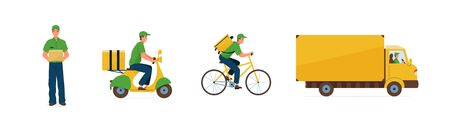 Set of delivery service vector illustration. Fast online deliver by courier man, bicycle, motorcycle and truck to work or home. Transport design in trendy flat style isolated on white background. Vectores