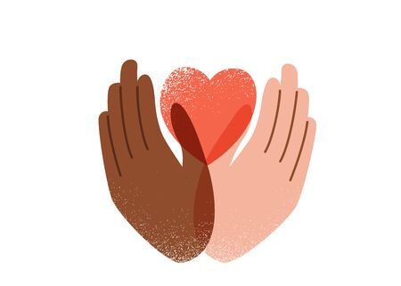 Say no to stop racism, love and peace concept. Black Lives Matter vector background. Human black and white hands hold pink heart, texture effect. Motivational poster against discrimination
