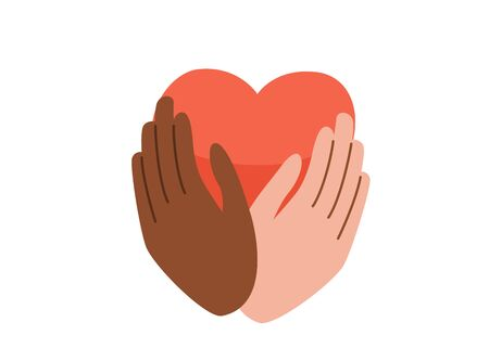 Say no to stop racism. Black Lives Matter vector background. Human black and white hands hold pink heart. Motivational poster against ethnocentrism and discrimination