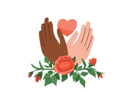 Black Lives Matter vector background. Say no to stop racism. Human black and white hands hold pink heart. Rose plant wraps arms. Motivational poster against ethnocentrism and discrimination