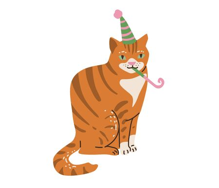 Outbred red and white cat celebrate happy birthday. Vector illustration in simple cartoon flat style. Isolated on white background  イラスト・ベクター素材