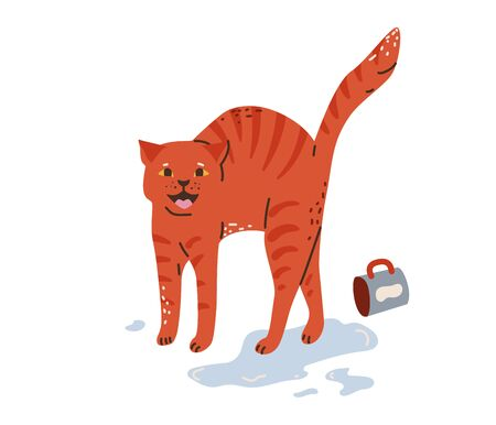 Tabby red cat say meow, turned the cup over, water spill. Vector illustration in simple cartoon flat style. Isolated on white background.  イラスト・ベクター素材