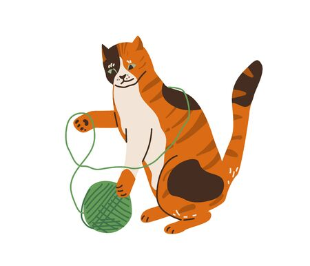 Cute three color cat playing with tangle yarn ball. Vector illustration in simple cartoon flat style. Isolated on white background.