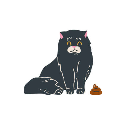 Black long haired cat sitting near brown poop. Embarrassed. Vector illustration in simple cartoon flat style. Isolated on white background