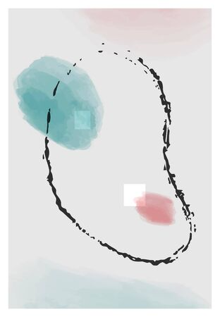 Abstract minimalist vector poster set. Collection of hand painted illustration background for stylish decoration.