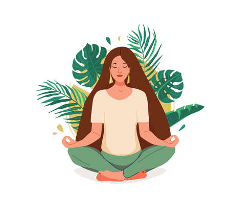 Mind wellness vector illustration. Young woman sitting in yoga lotus pose surrounded by tropical leaves and sun. Positive think creative concept