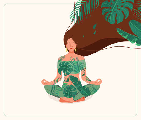 Mind wellness vector illustration. Young woman sitting in yoga lotus pose wearing leaves clothes. Very long hair with tropical plants. Positive think creative concept