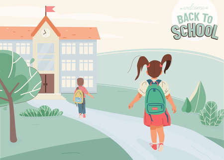 Back to school vector illustration background with greeting text. Little girl, boy go to school building, back view. Green landscape with construction, way, plants, trees.