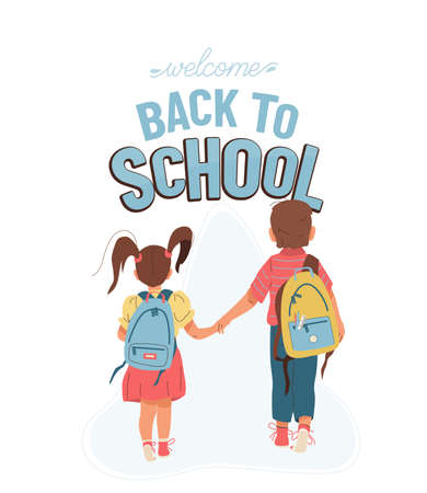 Back to school vector background with greeting text. Little boy and girl go to school for the first time. They hold hands. Children with backpacks illustration isolated on white, back view.  イラスト・ベクター素材