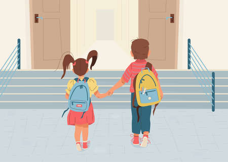 Back to school vector illustration background. Happy little boy and girl is going to school for the first time. They hold hands. Children with backpacks walk to open door through the stairs.