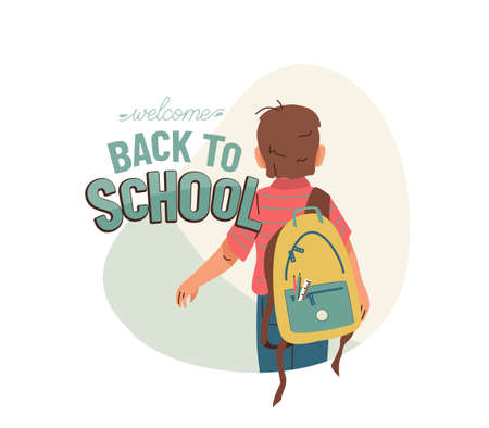 Little boy with backpack go to school for the first time. Back to school vector design with greeting text isolated on white background. Back view.  イラスト・ベクター素材
