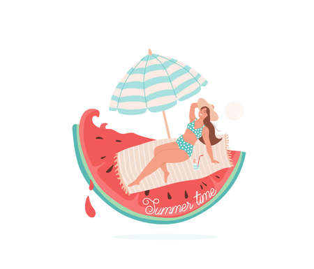 Summer time vector illustration. Beautiful smiling girl lie on litter under striped umbrella. Beach concept design with watermelon, wave, drops element and text. Isolated on white background.
