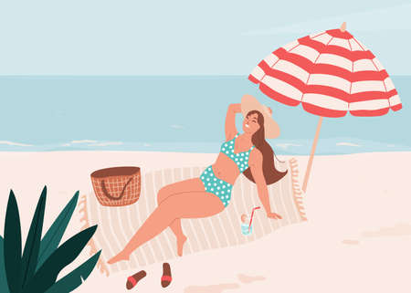 Smiling body positive woman lie on litter under striped umbrella. Summer time vector illustration. Sea holiday concept concept design with beach element cocktail, flip-flops, bag.