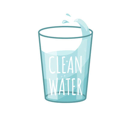 Glass with clean water and splash drops in bright color cartoon flat style isolated on white background. Text sign. Healthy food vector illustration. Organic meal concept