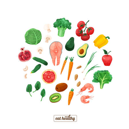 Healthy food vector illustration. Vegetables and fruit in round composition and bright color cartoon flat style isolated on white background. Organic meal concept