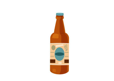 Delicious beer bottle with label isolated on white background is simple flat cartoon style. I choose sweet positive life, design concept