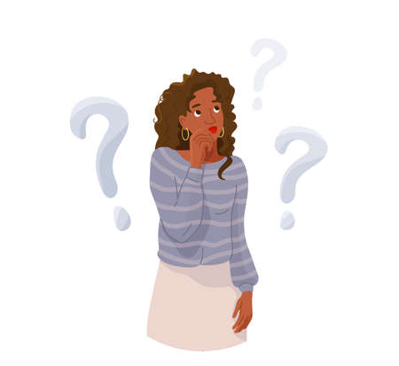 Think concept vector background. African american beautiful thoughtful woman looking up thinking about solve problem. Question sign marks. Illustration of idea brainstorm isolated on white 向量圖像