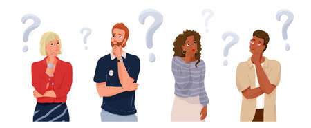 Think people portrait collection with question sign. Different nationality thoughtful men and women thinking about solve problems. Vector illustration of brainstorm banner background