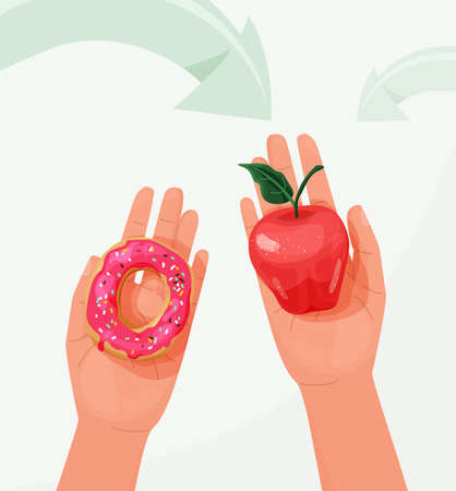 Choice food concept between healthy and unhealthy vector background. Woman hands holding red apple and sweet donut in different arms. Top view. Difficult choosing. Flat illustration in cartoon style 向量圖像