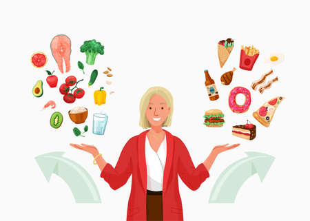 Choice between healthy and unhealthy food vector background. Happy young woman choosing something in both flat hands gesture. Arrows indicate direction selection. Flat illustration in cartoon style 向量圖像
