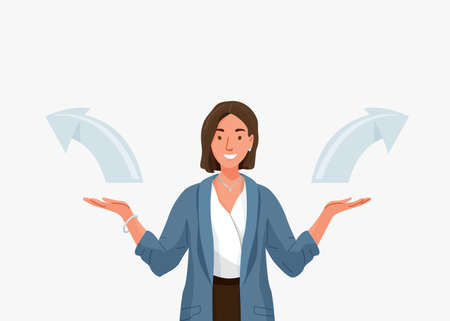 Choice vector background. Happy young business woman comparing variants, choosing between something in both flat hands gesture. Arrows indicate direction selection. Flat illustration in cartoon style 向量圖像