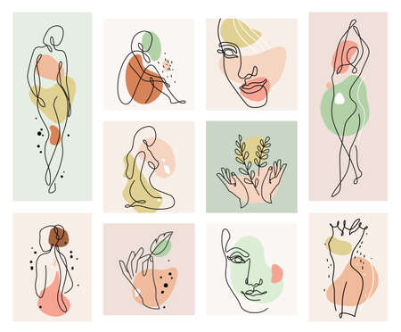 Abstract woman vector background set in continuous line art. Fashion cards with female faces, hands, postures, color texture shape elements in modern simple linear style. Beauty girl layout