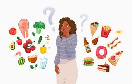 Happy young black african american woman thinking about choosing menu. Choice between healthy and unhealthy food concept vector background. Difficult choosing. Flat illustration in cartoon style