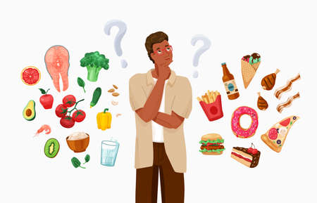 Happy black african american man thinking about choosing menu. Choice between healthy and unhealthy food concept vector background. Difficult choosing. Flat illustration in cartoon style 向量圖像