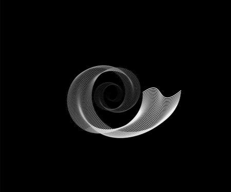 Spiral line pattern vector background. Light white round technology digital design isolated on black backdrop. Circular sound wave concept