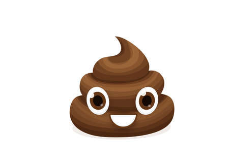 Brown emoticon poop character vector illustration. Emoji comic poo in flat cartoon style isolated on white background. Funny excrement art