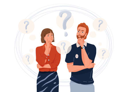 Young couple think about problem. Question symbol. Troubled woman and man thinking together. Vector illustration in simple flat cartoon style isolated on white background