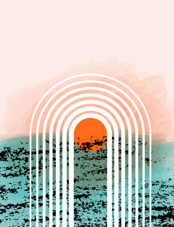 Abstract contemporary vector background with rainbow, sun, rays. Sea sunset landscape after rain in modern simple flat style with texture effect. Boho wall decor design
