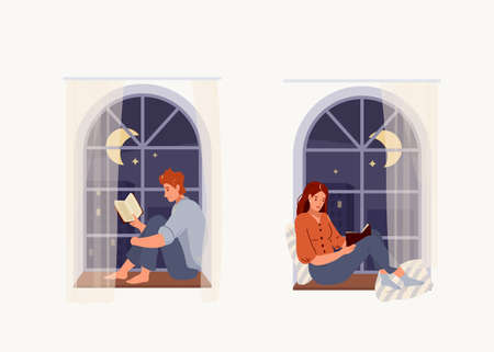 Set of young woman and man reading book while sitting on windowsill with cozy pillows at home. Vector illustration of read design concept isolated on white background