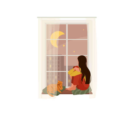 Young romantic girl with long hair looking through window while sitting on sill at home with next to a ginger tabby cat who licks his paw. Vector illustration of thinking, dreaming design concept 向量圖像