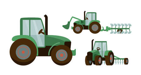 Green tractor set vector illustration. Agrimotor with bucket and plow. Isolated on white background