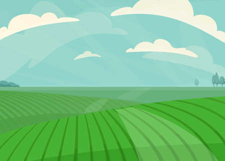 Landscape vector illustration. Green meadow field, hill, plants and blue sky with clouds. Nature spring, summer farm scenery. Countryside for organic production background