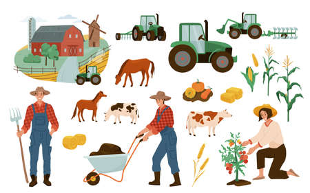 Farm illustrations vector set. Farmers working with wheelbarrow, gathering tomato harvest. Agricultural cute design elements tractor, barn, mill, wheat, pumpkin, corn, animal cow and horse