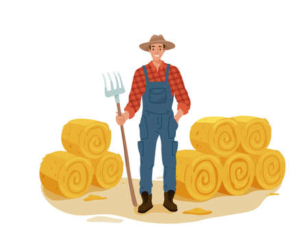 Farmer man character work with pitchfork and hay. Haystack rolls vector illustration isolated on white background 向量圖像
