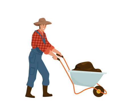 Man farmer carries wheelbarrow full of dirt manure or ground. Gardener wearing in jumpsuit, shirt in a cage work with barrow. Vector illustration isolated on white background
