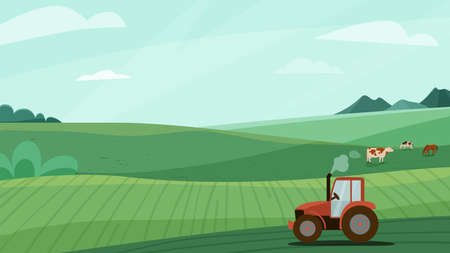Farm landscape vector illustration with green meadow field, tractor and animal cow horse. Nature spring or summer farmland scenery. Countryside for organic production background 向量圖像