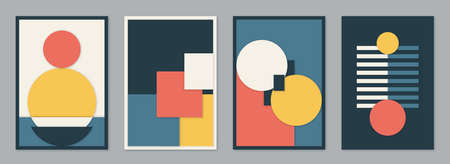 Modern bauhaus 3d design set vector background. Simple pattern in trendy flat material style with yellow, blue, red, white and black color geometric shapes with realistic shadows. Minimal art Ilustrace