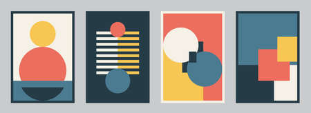 Modern bauhaus design set vector background. Simple pattern in trendy flat style with yellow, blue, red, white and black color geometric shapes. Minimal abstract art