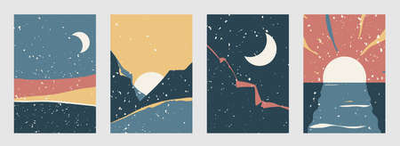 Abstract landscape vector background set in modern boho style. Contemporary minimal style patterns with nature view. Dawn, sunset, night, morning illustration with vintage texture