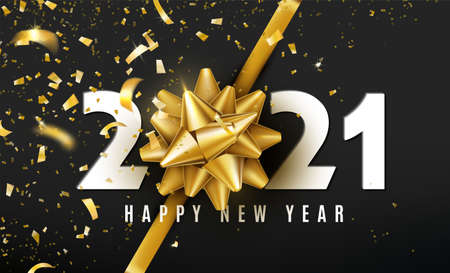 2021 Happy New Year vector background with golden gift bow, confetti, white numbers on black backdrop. Christmas celebrate design. Festive premium concept template for holiday Ilustrace