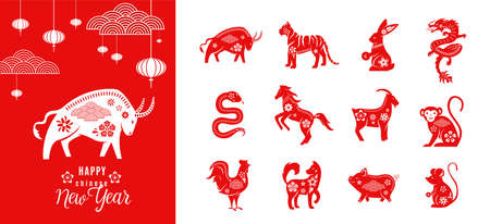 Chinese zodiac animals set with happy new year greeting card template of ox 2021. Twelve asian traditional red characters isolated on white. Vector illustration of astrology calendar horoscope symbol