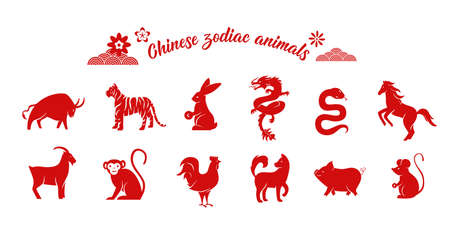 Chinese zodiac animal collection. Twelve asian new year red character  set isolated on white background. Vector illustration of astrology calendar horoscope symbols 向量圖像